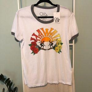 Chaser White Hawaii Ringer Graphic Tee T Shirt